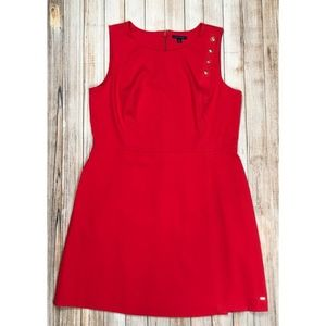 Tommy Hilfiger faux wrap dress with pockets in red